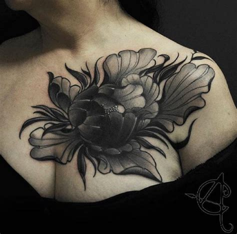 pinterest tattoo peony large peony on chest by scratchline tattoo tattoos on