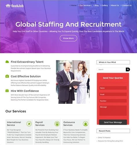 What Are The Best Wordpress Themes For A Consulting Hr Website Quora Recruitment Agency Website Template Free