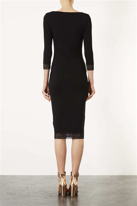 Plain Lace Midi Dress lyst topshop lace trim plain midi dress in black