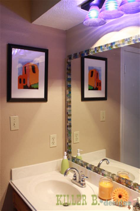 mosaic tile around bathroom mirror hometalk mosaic tile framed mirror
