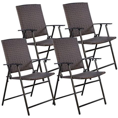 tangkula 4 pcs brown folding rattan chair furniture