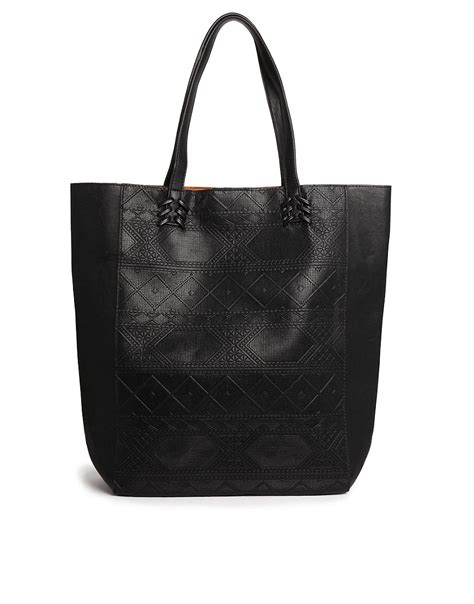 Pullbear Bag pull pull shopper bag with embossed print at asos