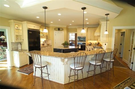 Open Kitchen Bar Design Large Open Kitchen With Eat At Bar And Island Traditional Kitchen Other Metro By Houck