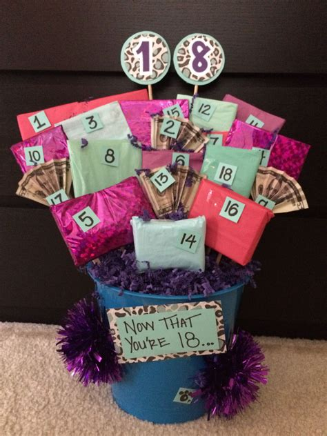 18th birthday gift basket on the back of each numbered