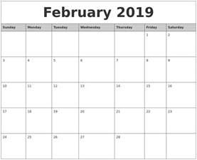 Calendar 2019 February February 2019 Monthly Calendar Printable