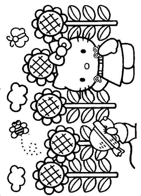 hello kitty fall coloring page hello kitty sunflower coloring page hello kitty photo