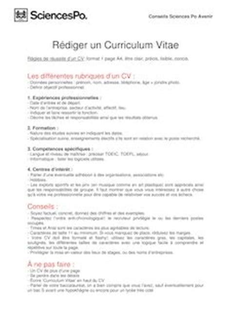 Conseils Lettre De Motivation Sciences Po r 233 diger un curriculum vitae sciences po fnsp emploi et carri 232 res