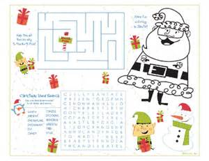 Christmas Activity Worksheets Calendar Template