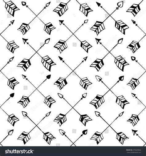 hand drawn seamless arrow pattern stock vector vector hand drawn tribal arrow seamless stock vector