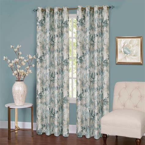 Lined Grommet Curtains Achim Tranquil Mist Lined Grommet Window Curtain Panel 50 In W X 63 In L Tqpn63ms06 The