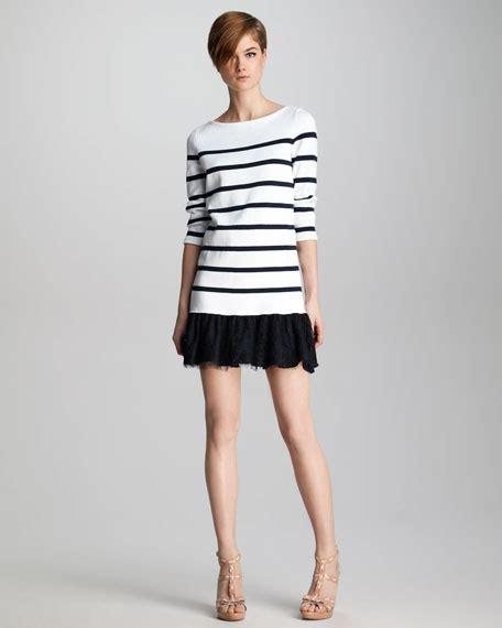 Lace Hem Knit Dress valentino lace hem striped knit dress