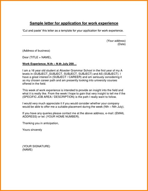 Work Experience Letter Template Year 10 5 Letter For Work Experience Exle Ledger Paper