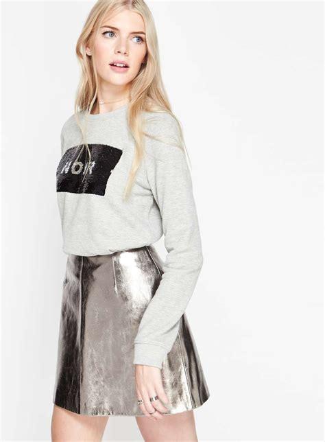 silver leather mini skirt miss selfridge