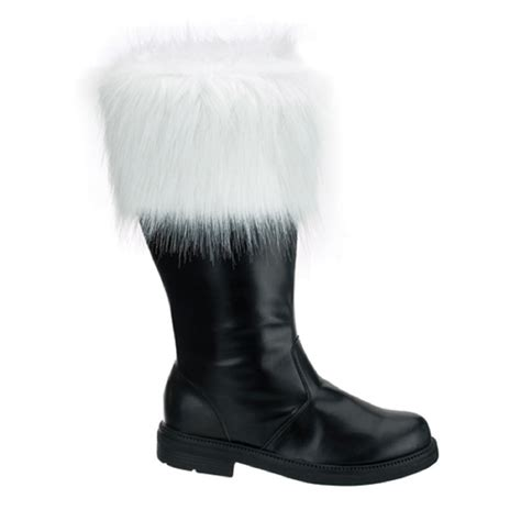 santa boots new s santa clause claus black costume boots with fur