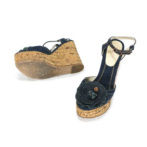 second chanel denim cork wedges the fifth collection