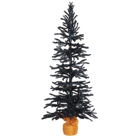 black tree with orange lights set of two black pvc trees with orange lights