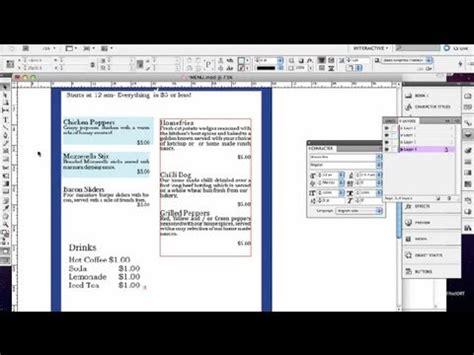indesign tutorial menu how to make a menu in indesign indesign tutorials youtube