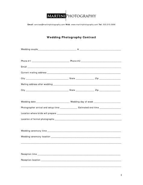 Simple Photography Contract Template best photos of basic service contract template