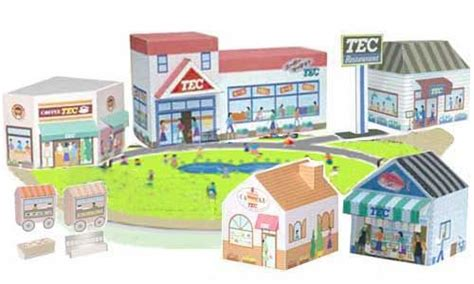 Paper Craft Store - town buildings papercraft shop store shopping mall for