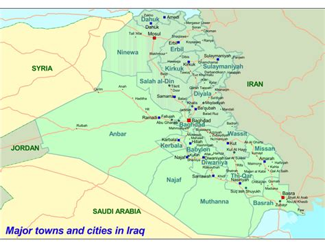 map of iraq cities major towns and cities in iraq iraq reliefweb