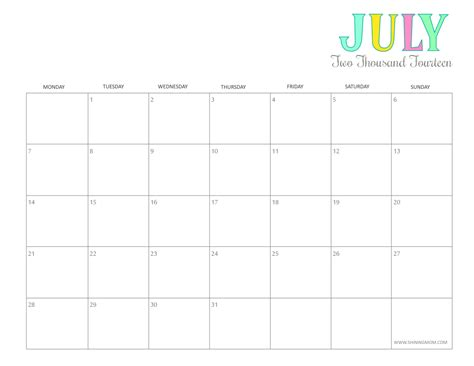 printable monthly calendar for july 2015 7 best images of cute printable july calendar cute july