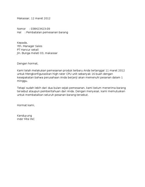 contoh surat niaga pembatalan pemesanan