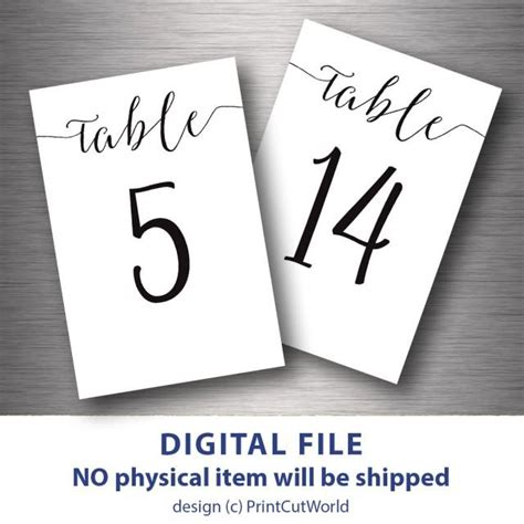 items similar to 4x6 table numbers printable wedding table numbers printable 4x6 classic wedding table number 1