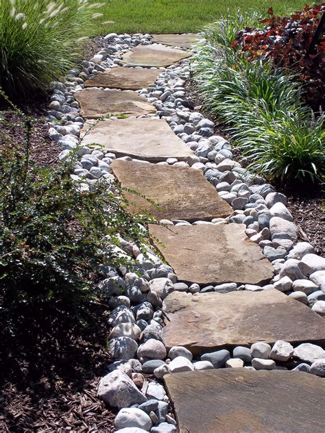 rock pathways flagstone set in river stone garden walkway pinterest