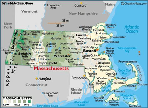 massachusetts map in usa map of massachusetts large color map