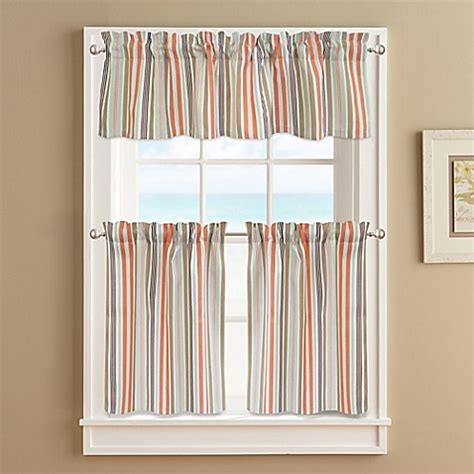 Striped Window Curtains Regatta Stripe Window Curtain Tier Pair In Coral Bed Bath Beyond
