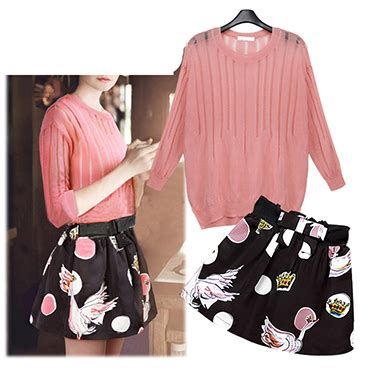 pink patterned skirt women s two piece set pink sweater patterned skirt