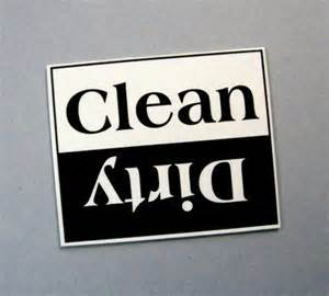 Dishwasher Clean Sign Dishwasher Sign Clean Versus Black And White By