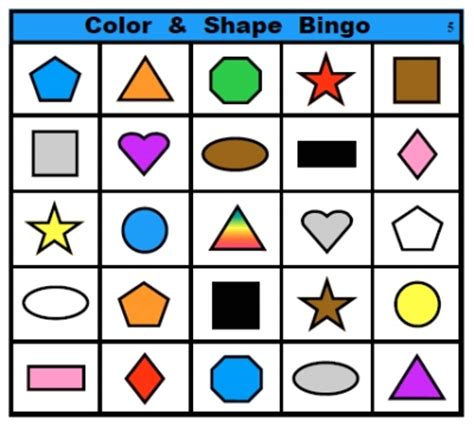 printable bingo cards with shapes color and shape bingo fran lafferty s page