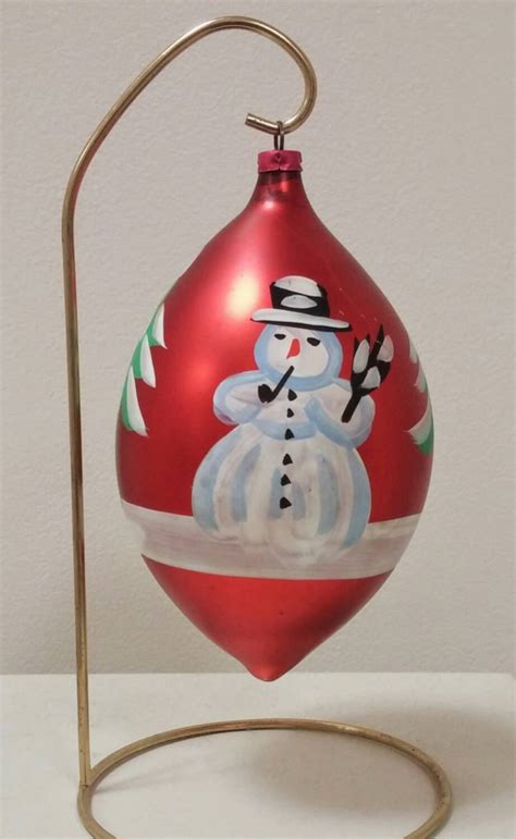 ornament vintage snowman scene west germany large blown glass