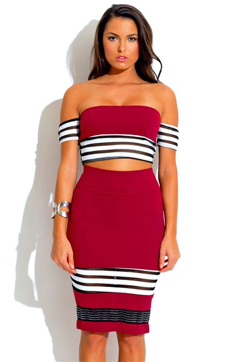 burgundy stripe mesh bodycon crop top and high waisted