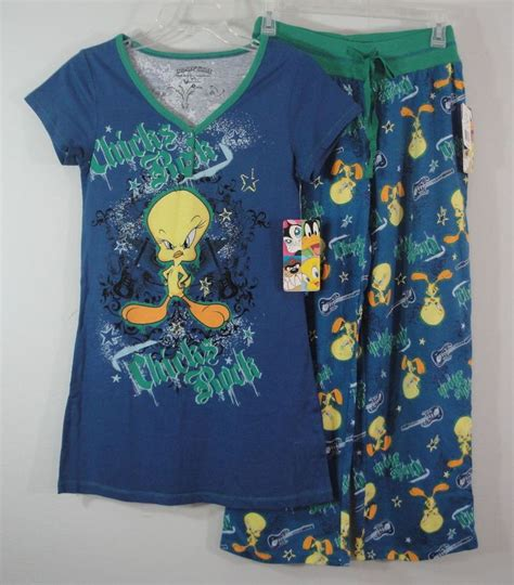 tweety bird sleepwear shirt top lounge pajamas womens small looneytunes