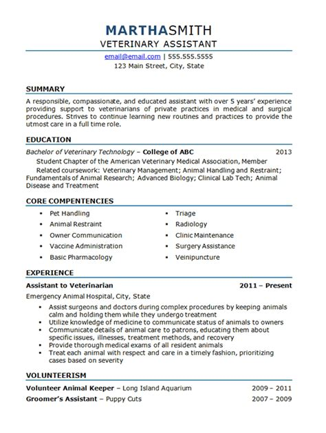 Veterinary Resume Exles Veterinary Assistant Resume Exle Animal Hospital
