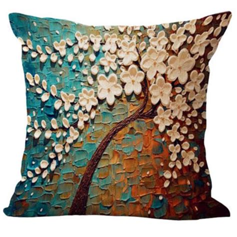 home decorative pillows floral cotton linen pillow case waist back throw cushion