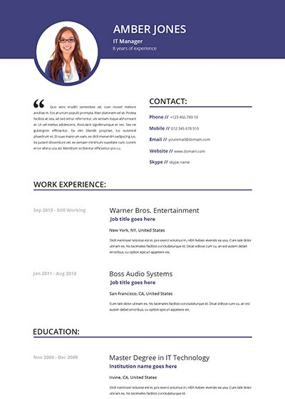Photo Resume Template by Resume Republic Resume Templates Resume Republic
