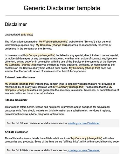 disclaimer agreement template sle disclaimer template termsfeed