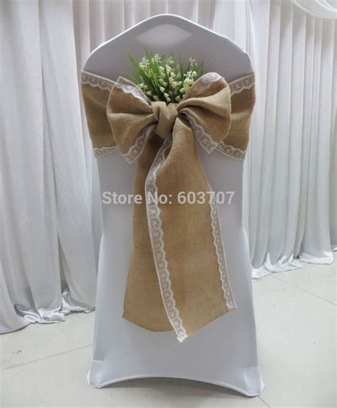 lace chair sashes east free shipping100 burlap hessian chair sash with