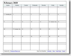 february  printable calendar print