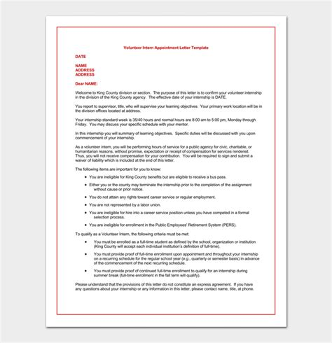 appointment letter for volunteer internship appointment letter 17 letter sles formats