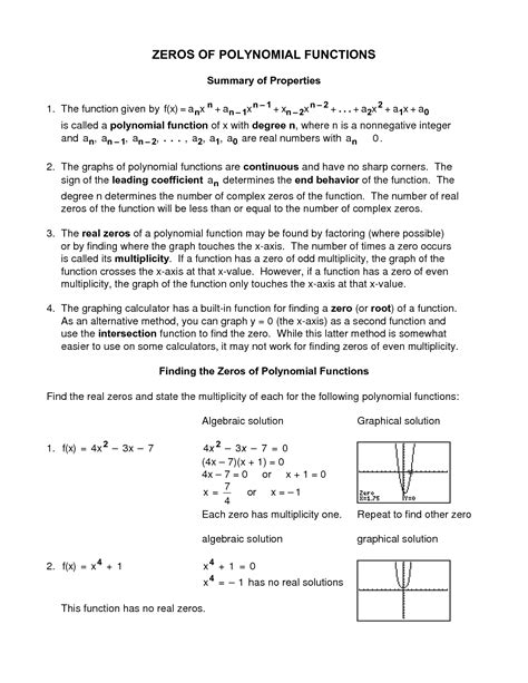 Polynomial Functions Worksheet