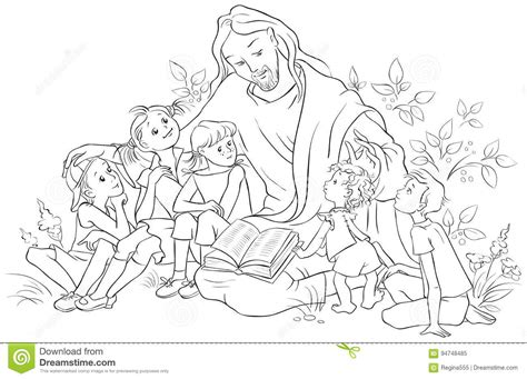 coloring pages reading the bible jesus reading the bible to children coloring page stock