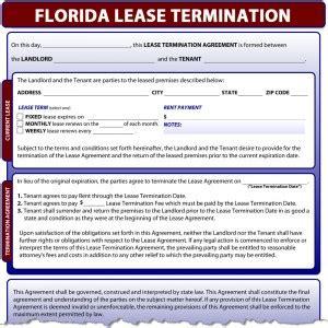 Lease Termination Letter Florida florida lease termination