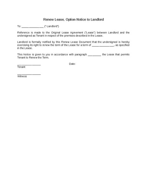 Letter Of Intent For Lease Renewal renew lease option notice to landlord hashdoc