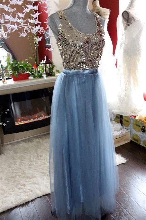maxi tulle skirt grey blue floor length skirt