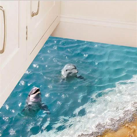 Wall Shower Wasser 1x 3d dimensional blue sea water waterproof floor stickers ground bathroom stickers background