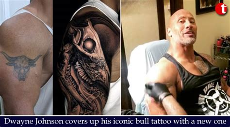 dwayne johnson tattoo cover up dwayne johnson covers up his iconic bull tattoo with a new